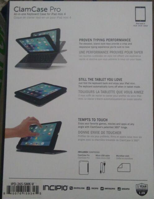 low priced 51ac2 3ea02 BRAND Incipio ClamCase Pro Keyboard Case for iPad Mini 4 Black