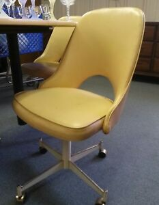 Pleasing Details About Vtg Stoneville Mid Century Modern Rolling Office Dining Chair White Yellow Vinyl Cjindustries Chair Design For Home Cjindustriesco