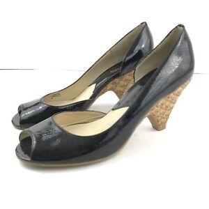 Michael-Kors-8M-Heel-Patent-Leather-Peep-Toe-Woven-Heel-Slip-On