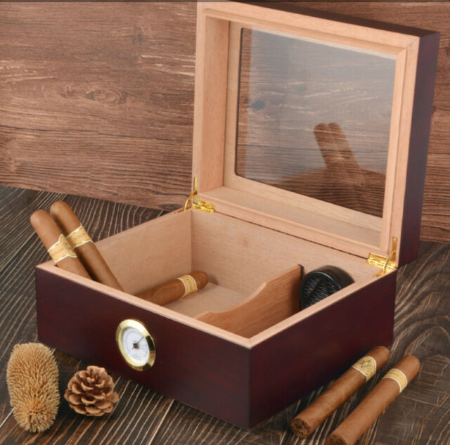 50 Zigarre Humidor Aufbewahrungsbox Desktop Glas-TOP-Luftbefeuchter Hygrometer
