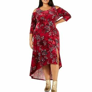 NY-COLLECTION-Women-039-s-Wine-Plus-Printed-Cold-shoulder-Velvet-Maxi-Dress-3XP-TEDO