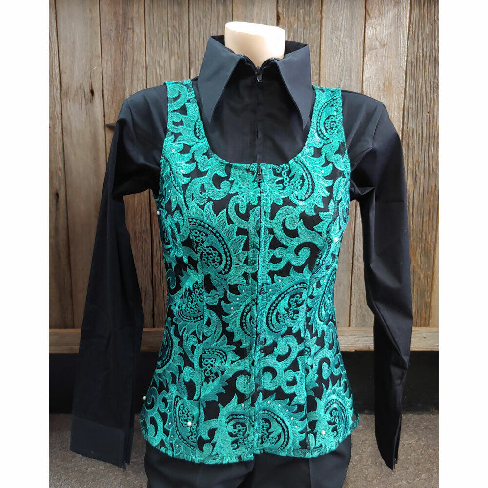 Wire Horse LTD. Ladies Totally Teal Sheer Horse Show Vest NEW