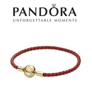 Details about PANDORA Moments Red Woven Leather Bracelet Braided