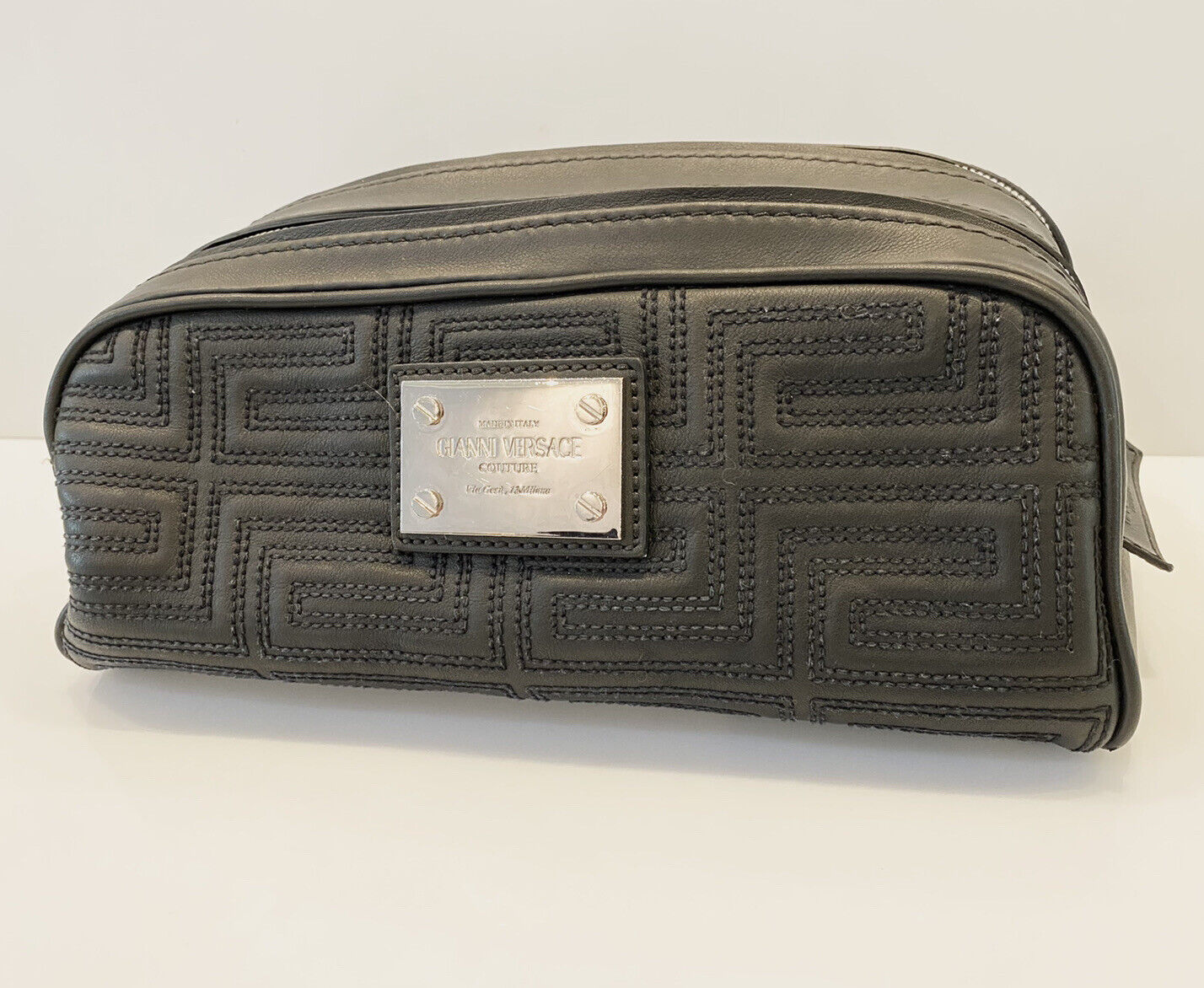 Gianni Versace Couture Quilted Cosmetic Bag Travel Toiletry Handbag Black