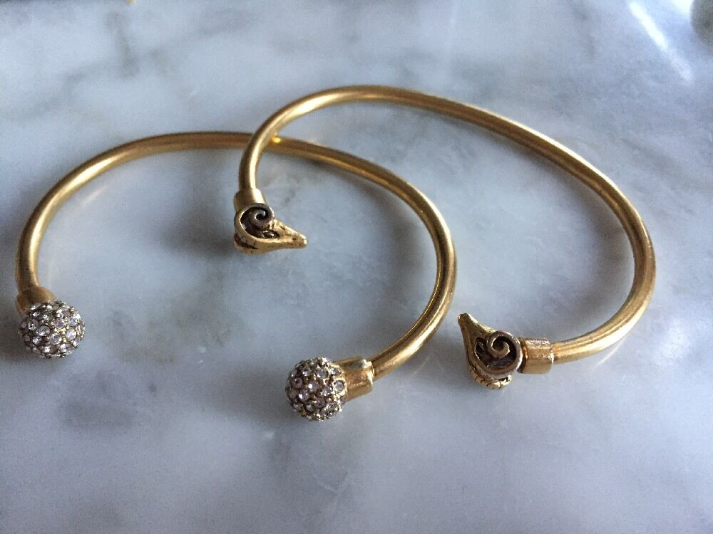 J.Crew Fashion gold Tone Cuff Set Ram Heads And Crystal Pave Knobs - Set Of 2
