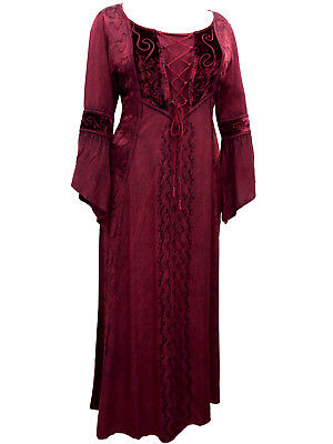 Eaonplus NEW RED Embroidered Renaissance Gothic Corset Tunic Size UK 26
