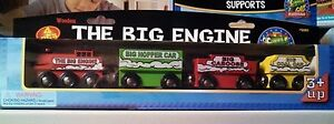 4pc-NEW-MAXIM-BIG-ENGINE-WOODEN-TRAIN-SET-Yellow-Coal-Car-Green-Hopper-Caboose