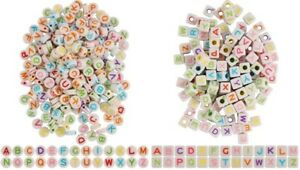 Small Square or Round Colourful Alphabet Letters Beads for Jewellery Making 35g