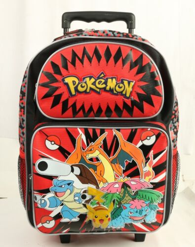 "Pokemon Pikachu Large Rolling Backpack 16/""/> School wheel Backpack bottle Holder"