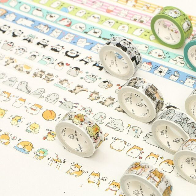 Lot 5pcs Paper Washi Tape Deco Sticky DIY Scrapbook Supply Cute Kawaii Cartoon