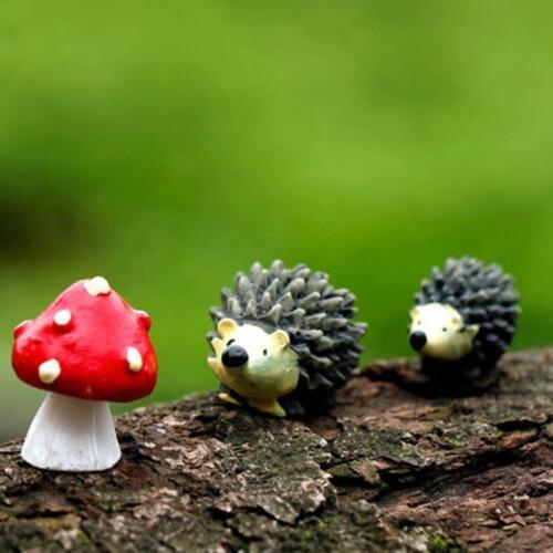 Mossfairy Miniature Ornament Hedgehog Mushroom Set Decor Fairy Garden