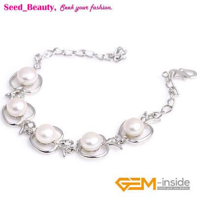 Freshwater Pearl Apple Shape Bracelet White Gold Plated Adjustable Size 6-7mm