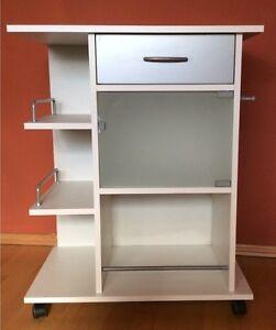 k chenwagen k chenregal glast r wei auf rollen schublade haken servierwagen ebay. Black Bedroom Furniture Sets. Home Design Ideas