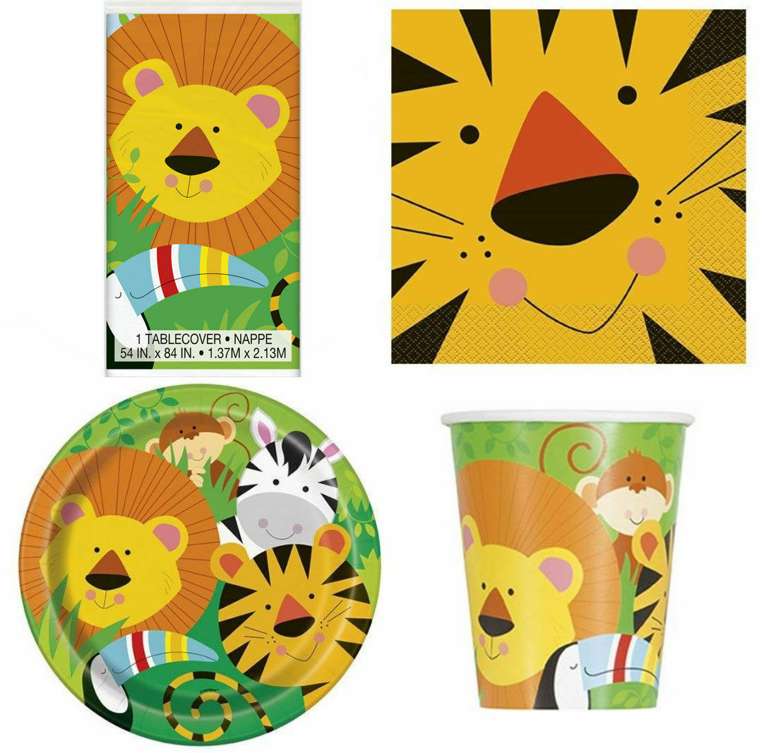 Jungle Funny Kids Boys Girls Birthday Party Supplies For 16 Table Decoration New