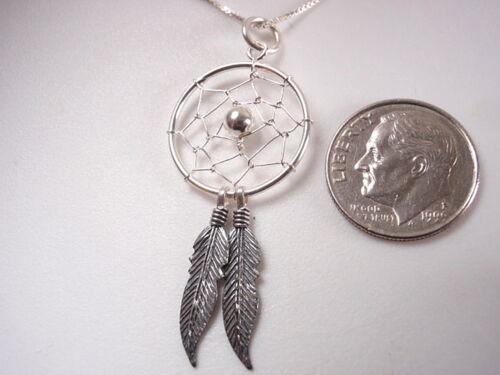 Silver Double Feathered Dream Catcher Pendant 925 Sterling Silver Corona Sun