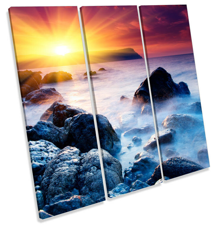 Sunset Seascape Beach  TREBLE CANVAS WALL ART Square Picture Print