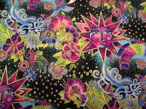 Laurel Burch Celestial Magic Toile Cotton Fabric Y3160-55M Multi Color w/Met