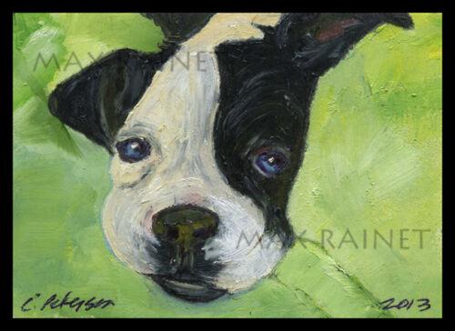 PUPPY Love on a GREEN Blanket ORIGINAL FINE ART Print BOSTON TERRIER bulldog LUV