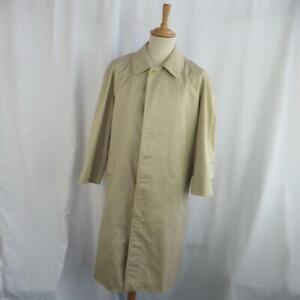 Vintage-Burberry-Men-039-s-Macintosh-Trench-Coat-Plaid-Lining-Designer-44-034-Chest