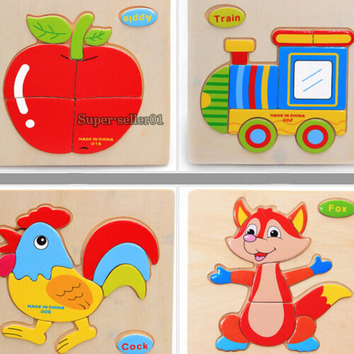 Hot Cartoon Wooden Animals Jigsaw Puzzles Kids Intelligence Education Toy Gifts
