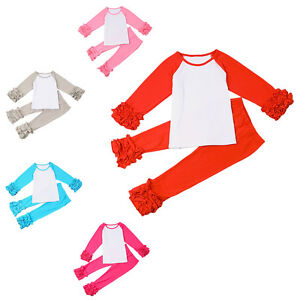 adccdf8e1c0f64 Baby Girls Ruffle T-shirt Pants Outfits Toddler Kid Long Icing ...