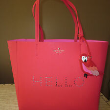 KATE SPADE FLIGHTS OF FANCY WATERMELON PERFORATED HELLO HALLIE PARROT TOTE-$348