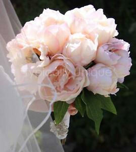 Image Is Loading New Wedding Bridal Pale Pink Peony Bouquet With