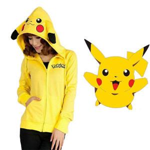 Halloween-Cosplay-Costume-Pokemon-Pikachu-Hoodie-Sweatshirt-Zip-Coat-Jacket