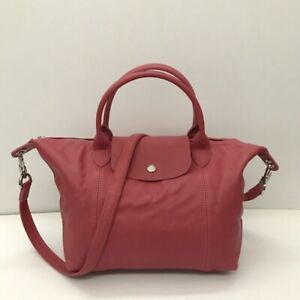 Longchamp-Modele-Depose-Le-Pliage-Cuir-Small-Pink-Leather-Bag-COD-PayPal
