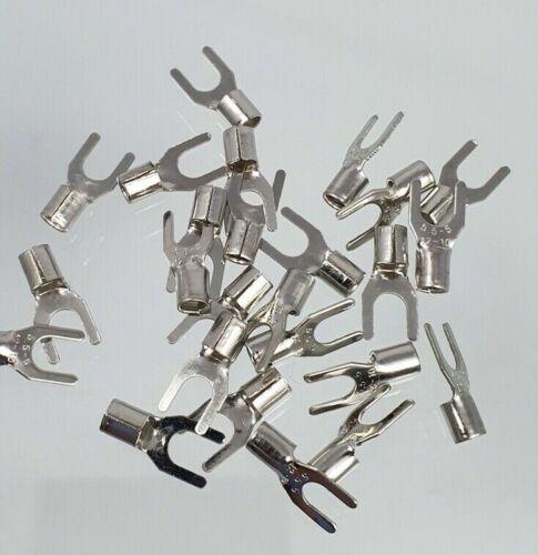 50 x M5 Gabel Y Kabelschuhe 5mm Schaft Masse Crimp Krimp unisoliert SNB 5-5