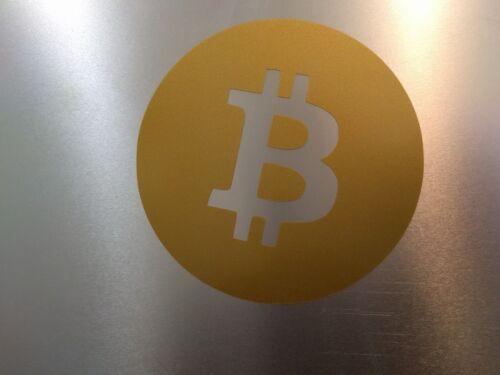 "7.6cm x 7.6cm 2 pack Bitcoin Logo Vinyl Decal Sticker Gold Metallic 3/"" x 3/"""