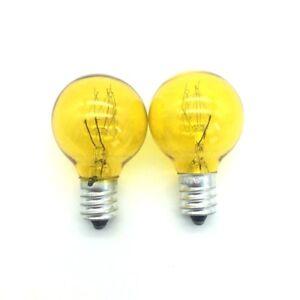 Image Is Loading 2x E12 Globe Yellow Colored Incandescent 7w Bulb
