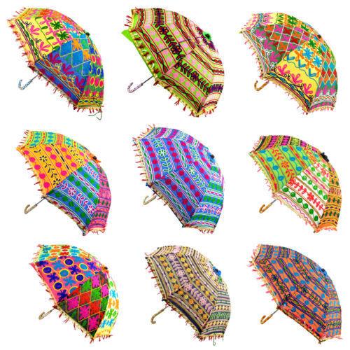 Indian Parasol Lot Of 10 Pcs Decor Rajasthan Umbrellas Mirror Work Wholesale Lot