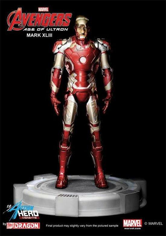 Dragon 1 9 Age of Ultron Iron Man Mark 43 Tony Stark Head w  Light Up Base 38155