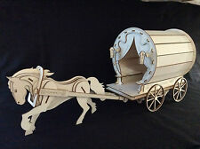 Laser Cut Wooden Gypsy Caravan & Horse 3D Model/Puzzle Kit