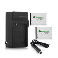 2 Pack Nb-5l Battery For Canon Powershot S100 Sx200 Sx210 Is Sx230 Hs + Charger
