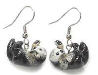 Je061 - Sea Otters Earrings - Surgical Steel Porcelain Dangle - Little Critterz