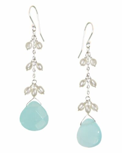 Sterling Silver Fresh Water Pearl and Quartz Drop Earrings Jewelry