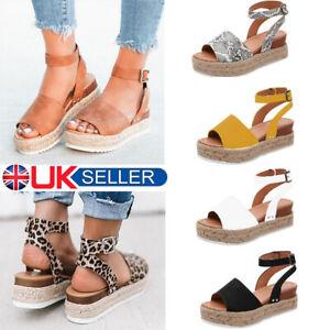 5859bd2c90544 UK Women's Ankle Strap Flatform Espadrilles Ladies Summer Platform ...