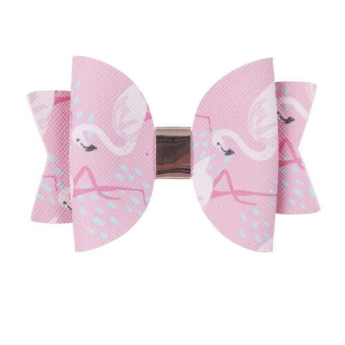 """2PC 3/"""" Unicorn Printed Sequin Hair Bows Hair Clips For Girls 2-Layers Bling Bows"""
