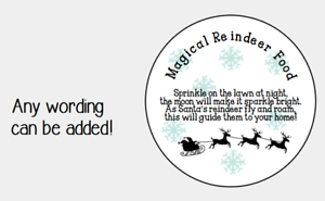 REINDEER FOOD STICKERS LABELS CIRCLE CHRISTMAS PRESNTS GIFT TAG XMAS EVE
