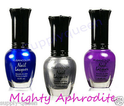 Kleancolor Mighty Aphrodite Collection Nail Polish Lot of 3 Colors Set Lacquer