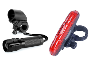 Front /& Rear lights set kit alloy head tail lamp bright red mountain road bike