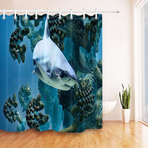 "Shark Hunting Ocean Bathroom Waterproof Fabric Shower Curtain Liner 12Hooks 72/"""
