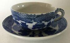 Vintage Blue Willow CHILD'S Toy Tea CUP & SAUCER Japan Porcelain