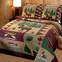 Moose Lodge Quilt Set Queen Comforter 3 Pc Bed Spread Rustic Shams Bed Cover .
