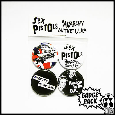 Sex Pistols - Anarchy in the UK Button Badge Pack - 4 x 25mm Button Badges