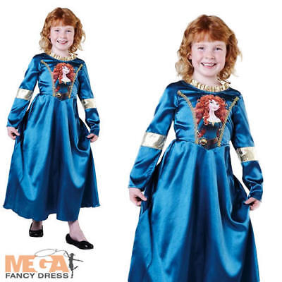 Small Girls Classic Merida Costume Official Princess Fancy Dress Kids