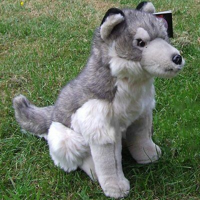 41cm Sitting Wolf By Dowman Soft Touch - Cuddly Toy