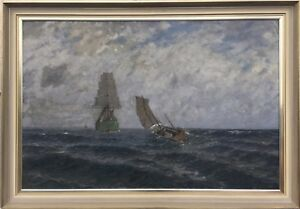 Marine-Painter-Leopold-Schonchen-Sailing-Ships-on-the-Sea-36-3-16X51-5-8in